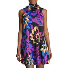 Julie Brown Mixie Sleeveless A-line Printed Dress (€63) ❤ liked on Polyvore featuring dresses, black brea, colorful dresses, geometric dresses, multi-color dress, multicolored dress and a-line dresses