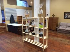 Shelving going up Store Fronts, Shelving, Entryway, Building, Baskets, Furniture, Home Decor, Entrance, Homemade Home Decor