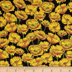 The Magic of Oz Poppy Fields Yellow from @fabricdotcom  Designed by Graphic 45, licensed to Wilmington Prints, this cotton print fabric is perfect for quilting, apparel and home decor accents. Colors include yellow, green and black.