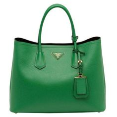 Prada Saffiano Cuir Double Bag, Green (Verde) ❤ liked on Polyvore featuring bags, handbags, holiday purse, prada bags, prada, holiday handbags and green purse