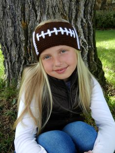 Tunisian Knit-Look Crochet Football Headband by KismetCrochet