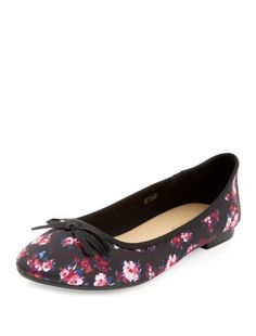 Pink Pattern (Pink) Black Floral Print Ballet Pumps  | 323117579 | New Look