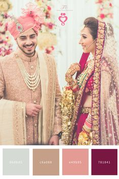 Colors of the wedding! Do you like it? WeddingNet is helping you! Candid Couple Shot - Bride in a Pink Sequinned Lehenga and Groom in a Peach Suit. WeddingNet #weddingnet #indianwedding #indianbride #bride #bridal #sequinned #lehenga #bridallehenga #weddinglehenga #suit #green #gold #red