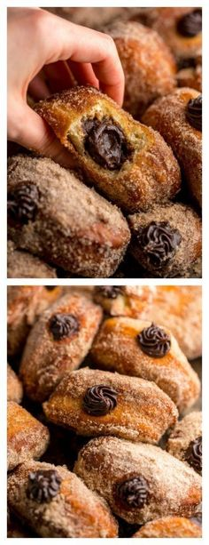 Chocolate Hazelnut Cream Doughnuts - Baker by Nature Donuts de crema de chocolate y avellanas! Best Donut Recipe, Donut Recipes, Cooking Recipes, Just Desserts, Delicious Desserts, Dessert Recipes, Yummy Food, Delicious Donuts, Brunch Recipes