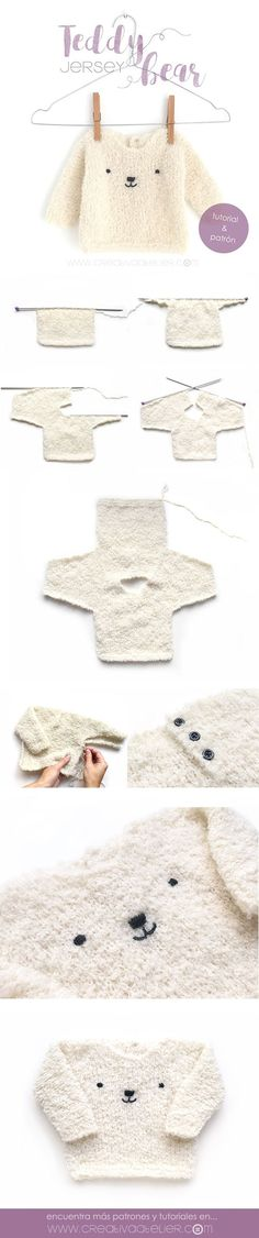Jersey de bebé de punto – Teddy Baby Sure, this one is knitting, but again with the actual item shown it just makes piecing things together, and understanding construction, easier. Into my Crochet how-to it goes! Baby Knitting Patterns, Knitting For Kids, Loom Knitting, Baby Patterns, Free Knitting, Knitting Projects, Crochet Patterns, Simple Knitting, Knitting Tutorials