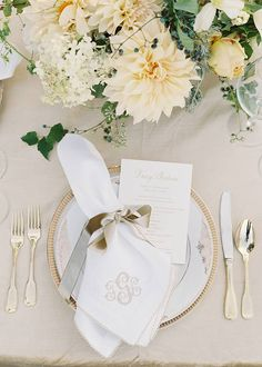 Elegant table detail, monogrammed napkin