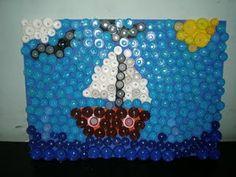 sailing... met doppen een schilderij maken