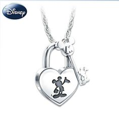 #Disney #MickeyMouse Lock and Key Pendant Necklace - the key and the lock really work and it's made of sterling!
