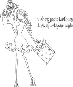 Stamping Bella Rubber Stamps | Uptown Girl Posh Has A Present Stamping Bella Unmounted Rubber Stamp ...