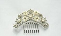 Arch Shaped Bridal Hair Comb, Bridal Hair Comb, Bride's Hair Comb, Wedding Hair Comb, Wedding Hair Accessories, Rhinestone and Pearls Comb. by TheHeartLabel on Etsy