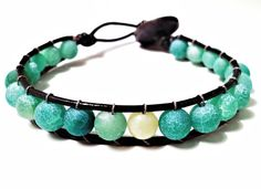 Sea-glass and Jade Leather Woven Bracelet made by CHRISTIANIMAL
