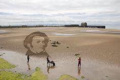 Anamorphic Sand Drawing, Schubert, Elie Beach for East Neuk Festival 2014