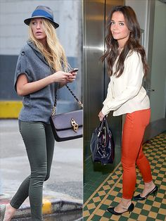 Blake Lively & Katie Holmes in $29.50 Old Navy Rockstar Skinnies...love these pants!