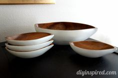 Upcycled Wooden Bowls- paint old wooden bowls for a modern face lift... and they are dishwasher safe too! (tutorial)