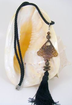 Amazon.com: Semi Precious Stone Brown Jade Long Tassel Enhancer Necklace One of a Kind Handcrafted Unique Artisan Jewelry: $155.00