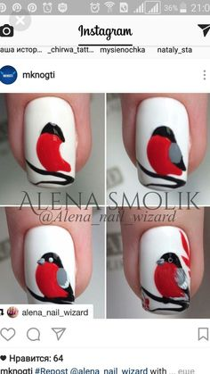 Tuto nail art oiseau rouge gorge Nail art is a creative way to paint, de Bird Nail Art, Animal Nail Art, Cute Nail Art, Cute Nails, Pretty Nails, Winter Nail Art, Winter Nail Designs, Winter Nails, Nail Art Designs