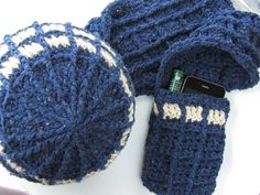 Too bad I can't crochet (really, I'm hopeless) TARDIS inspired Hat & Scarf Crochet Pattern Doctor by KnitsForLife, $5.00