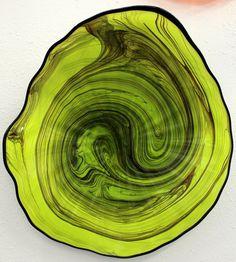 Beautiful Hand Blown Glass Art Platter Bowl Green by oneilsarts Art Of Glass, Blown Glass Art, Painted Floors, Glass Design, Shades Of Green, Colored Glass, Cool Art, Sculptures, Platter