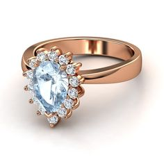 Pear Aquamarine 14K Rose Gold Ring with Diamond | Pear Ballerina Ring | Gemvara