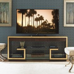 Features:  -Gold leaf accents.  -Three full extension drawers.  -Two ultra clear glass shelves.  -Cord management.  Product Type: -TV Stand.  Design: -Open shelving.  Frame Material: -Wood.  Solid Woo