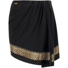 Just Cavalli Wrap-effect embellished chiffon mini skirt (230 AUD) ❤ liked on Polyvore featuring skirts, mini skirts, black, wrap skirt, wraparound skirt, just cavalli, eyelet skirt and short skirts