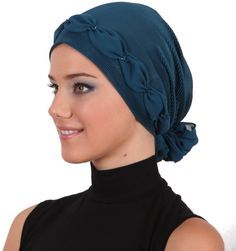 Shirred & Beaded Headwear for Hairloss, Cancer, Chemo - Teal