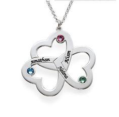 Nom personnalisé Triple amour coeurs collier pendentif de naissance, Main Stamped bijoux maman collier cadeau Couple bijoux