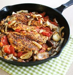 Inspired Edibles: Sizzling Skillet-Seared Cajun Inspired Chicken with Shiitake, Braised Tomato and Onion