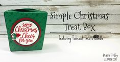 How to Make a simple Christmas Treat Box Easy Christmas Treats, Simple Christmas, Take Out, 3 D, Stampin Up, Paper Crafts, Treat Box, Learning, Create