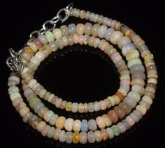 """53Ctw1Necklace 3.5to6 mm 16""""Beads Natural Genuine Ethiopian Welo Fire Opal R6569"""