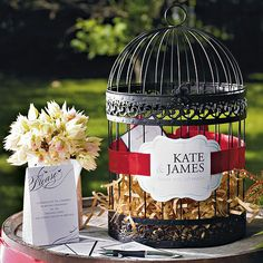 This birdcage is painted in an elegant matte finish which gives it a timeless feel. Easily incorporate it into your reception décor or use it as a unique wishing well.  Available for purchase online at http://madelinesweddings.weddingstar.com/product/classic-round-decorative-birdcage-