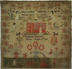 EARLY 19TH CENTURY RED HOUSE SAMPLER BY MARGARET GERRARD BORN 1807 c.1820-1830