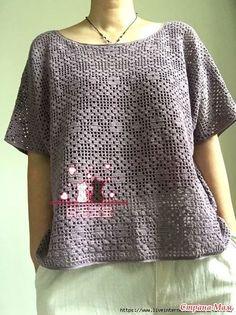 Jacket in fillet technique. Crochet Cardigan, Knit Crochet, Knitting Patterns, Crochet Patterns, Fillet Crochet, Crochet Designs, Crochet Clothes, Crochet Flowers, Blue Tops