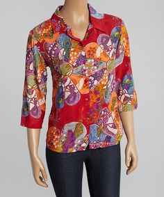 Loving this Red & Orange Floral Button-Up on #zulily! #zulilyfinds
