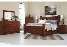 reddish brown king storage poster bed w dresser and mirror category bedrooms