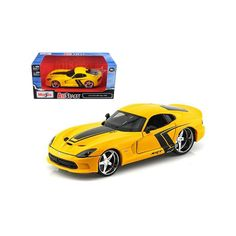 Brand new scale diecast model car of 2013 Dodge Viper GTS SRT Yellow Custom die cast car model by Maisto. Brand new box. Detailed interior, e Viper Gts, Dodge Viper, Dodge Models, Dodge Vehicles, Star Wars, Popular Toys, Metal Toys, Rubber Tires, Diecast Model Cars