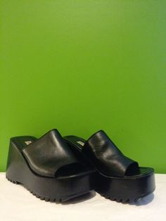 90's Platform Wedge Shoes / Club Kid Sky High Slip On Mules / Leather Steve Madden size 7.5