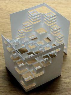 """""""Cube Modules"""" - photo by Popupology, via Flickr;  kirigami by Elod Beregszaszi  ?"""