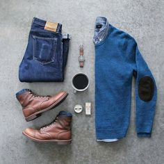 Stylish Grid by @awalker4715  Follow  @stylishgridgame   www.StylishGridGame.com  Brands ⤵ Sweater + Shirt + Jeans: @jcrewmens Boots: @redwingheritage Socks: @anonymousism_japan Watch: @omega Beard Balm + Cologne: @bawstonandtucker