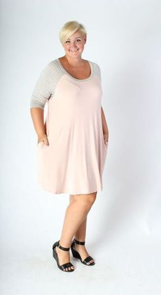 Plus Size Clothing for Women - Dusty Pink Tunic Dress with Pockets (Sizes 18 - 26) - Society+ - Society Plus - Buy Online Now!
