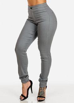 Classic High Waist Skinny Jeans (Grey)