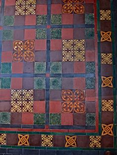 Tiles By William Godwin Of Lugwardine - Encaustic tiled floor designed by C R Ashbee for Bow Church using Godwin tiles