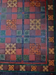 Tiles By William Godwin Of Lugwardine - Encaustic tiled floor designed by C R Ashbee for Bow Church using Godwin tiles