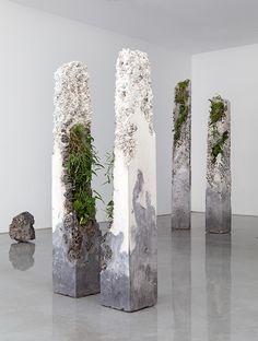 Terraforms 2014-cement, marble waste, limestone, steel slag, coal ash, plastic fibre, tree fern slab, various Australian native plants and Spanish moss
