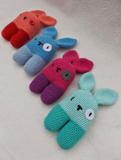 Rabbit rattles (with link to free pattern) by Olive Oyl