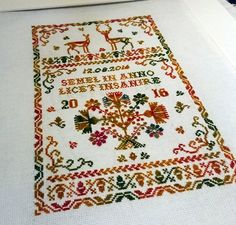 I made alterations to my own sampler pattern in order to create a personal wedding sampler in vibrant and beautiful autumn colours. We Get Married, Wool Thread, Thing 1, Cross Stitch Embroidery, Bohemian Rug, Deer, Wedding Planning, Vibrant, Textiles