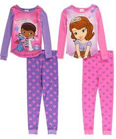 "Disney Little Girls' Toddler ""Doc & Sofia"" 4-Piece Pajama Set (Sizes 2T – 4T) $19.99"