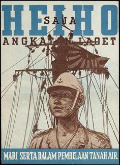 Imperial Japanese Navy HEIHO propaganda poster, Jakarta 1942
