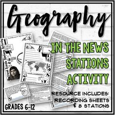 Are you looking for a way to connect Geography to current events? This Geography in the News Stations Activity is an engaging (and simple) way to do it! This activity requires very little prep! Just print the station cards, recording sheets, collect some newspapers and a couple of atlases and you're...