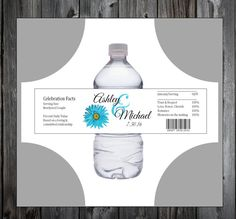 Malibu Blue Daisy 100 water bottle labels  by creatingapapermemory
